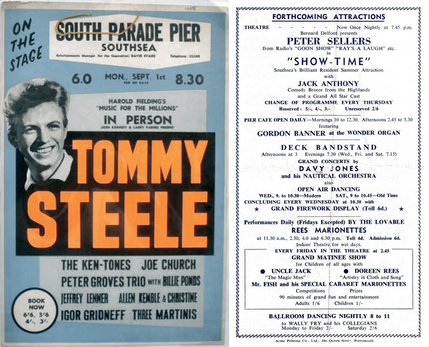 Frankie Howerd and Tommy Steele performed at South Parade Pier.